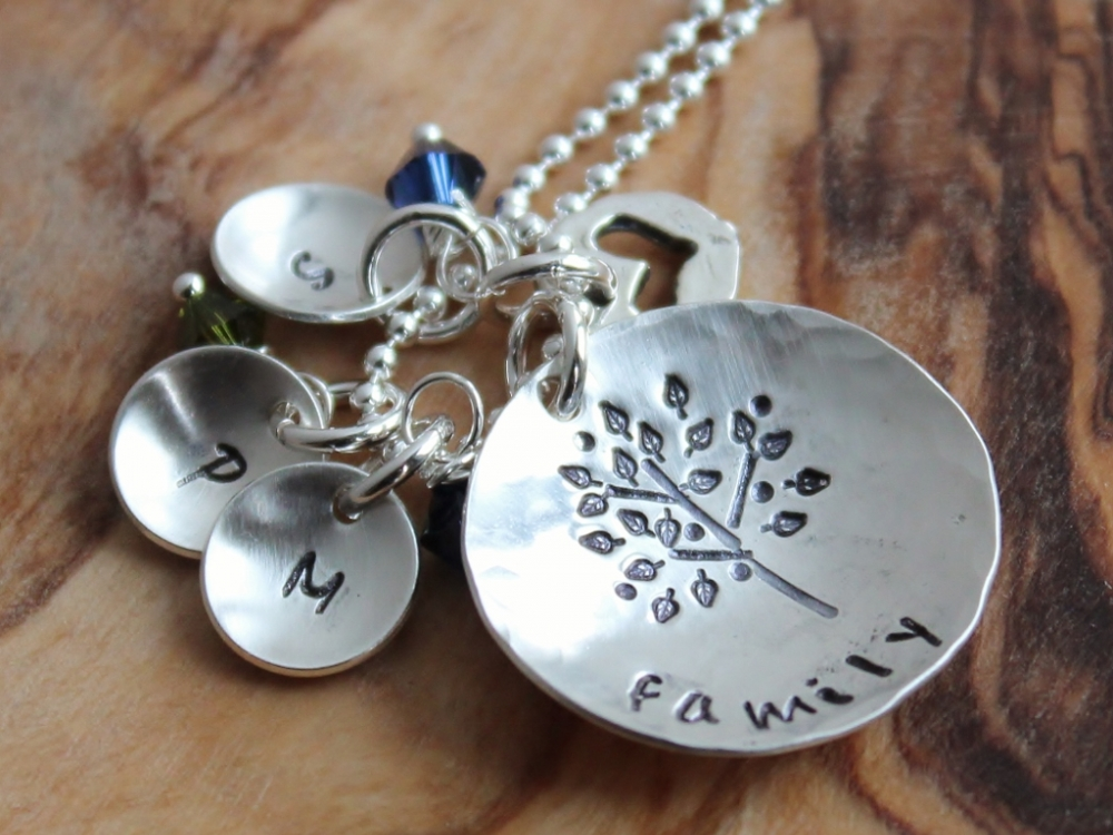Personalized family tree initial necklace free form tree for How to make hand stamped jewelry