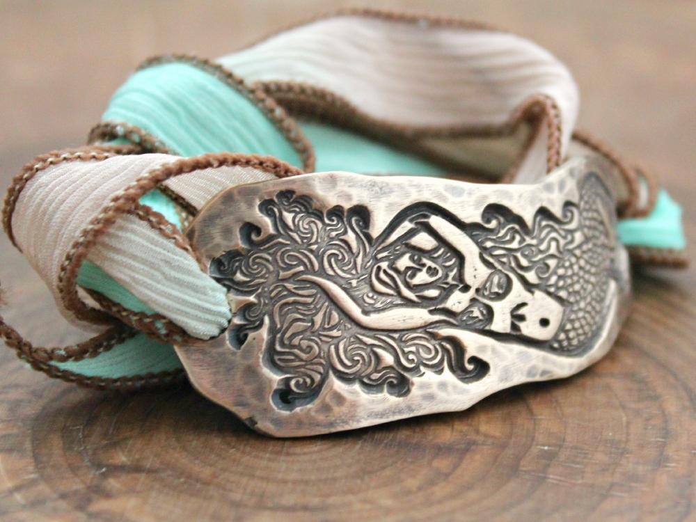 Mermaid Silk Wrap Bracelet Bronze Under Sea Mermaid
