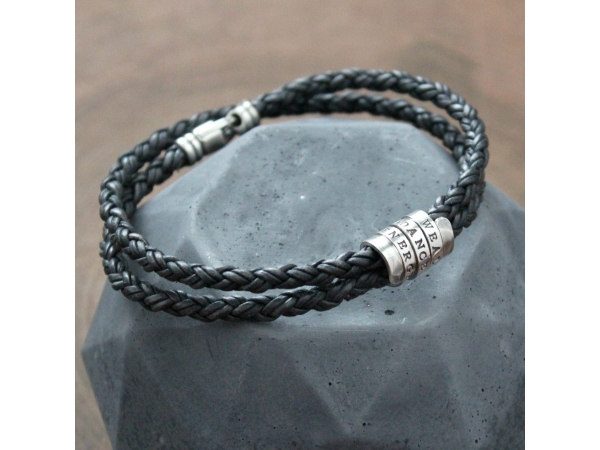 Men's personalized silver and leather bracelet