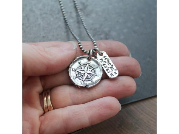 Personalized coordinates compass necklace unisex longitude longitude and latitude silver necklace personalized mens jewelry personalized compass necklace aloadofball Choice Image