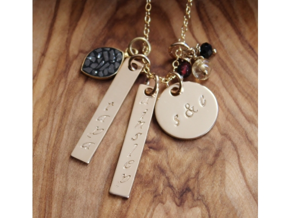 Gold diamonds personalized hand stamped family for Diamond stamp on jewelry