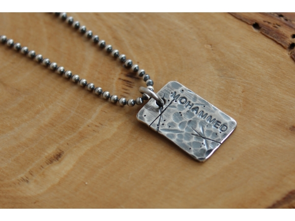 hand stamped men's necklace