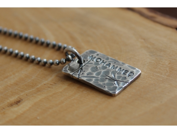 personalized mens fine silver necklace trashed dog tags. Black Bedroom Furniture Sets. Home Design Ideas