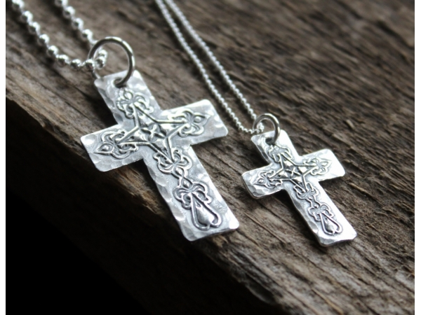 his hers personalized silver cross necklace set