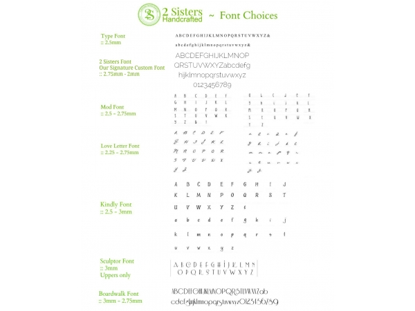2 Sisters Handcrafted custom font options