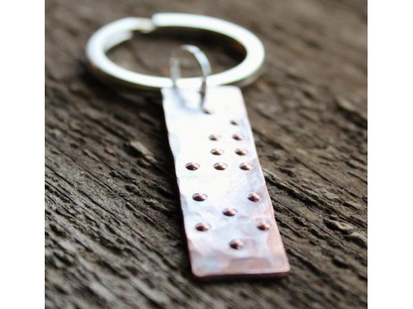 Secret message braille keychain