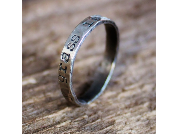 Hand stamped custom ring with message of choice