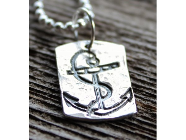 Hand stamped, rustic precious silver anchor dog tag personalized and masculine