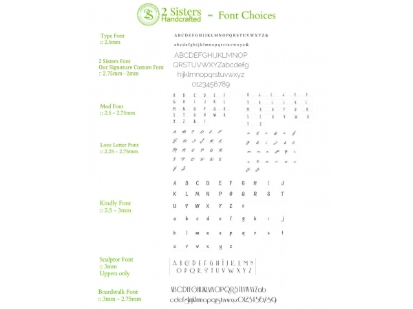 2 Sisters Handcrafted font choices