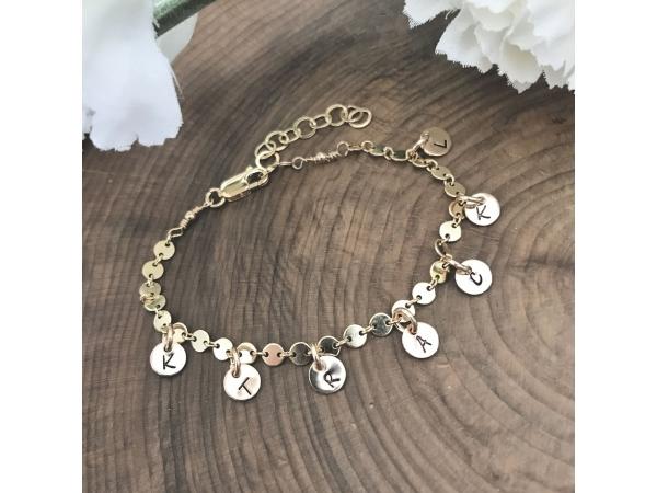 hand stamped gold charm bracelet