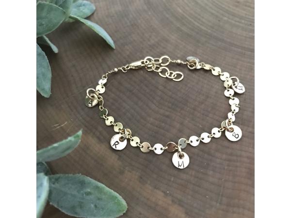 14k gold initial charm bracelet