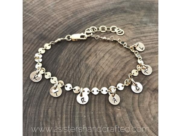 personalized gold charm bracelet