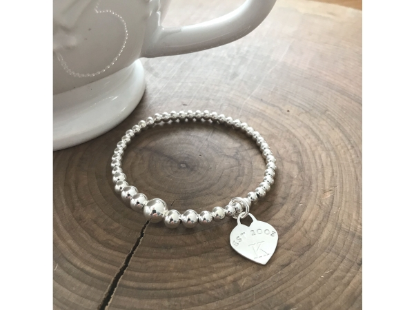 custom silver initial bracelet