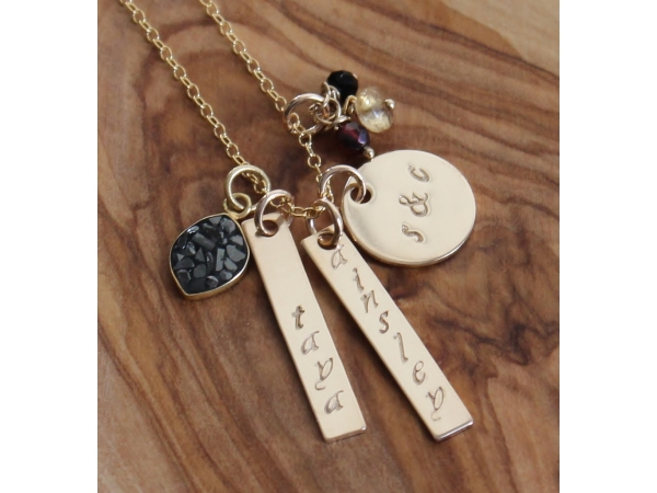 gold hand stamped family necklace