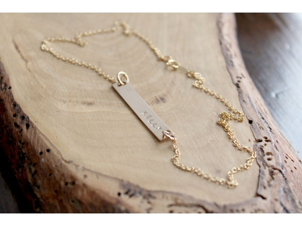 personalized gold bar layering necklace