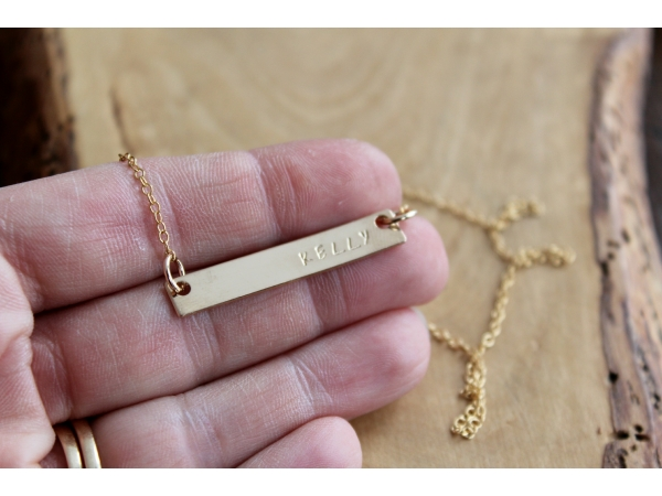 skinny gold bar name necklace
