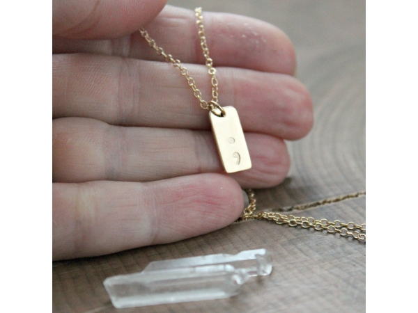 semi colon dainty necklace