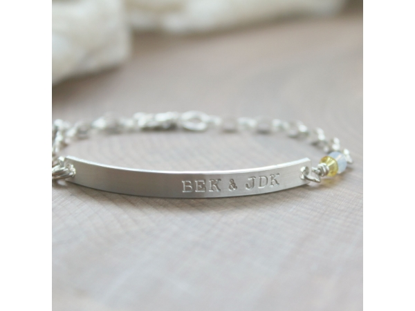 Personalized skinny bar bracelet