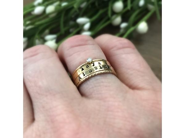 Gold family stacking ring set