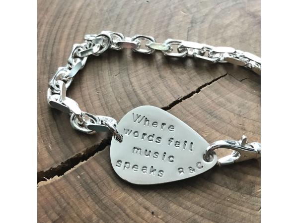 when words fail music speaks silver bracelet