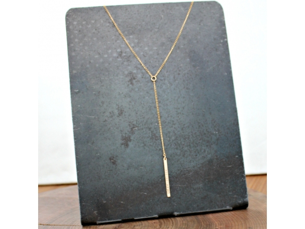 luxury gold drop bar necklace
