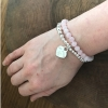 personalized silver Tiffany style heart bracelet