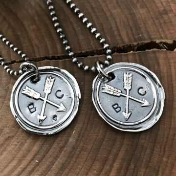 his and hers initials necklace set