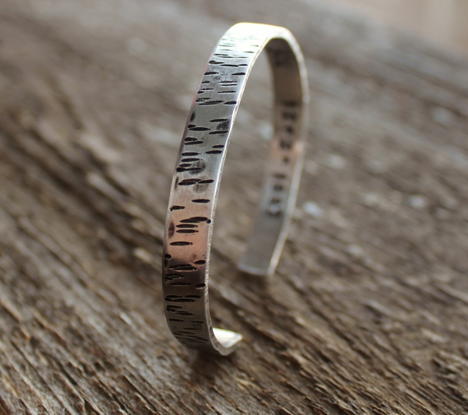 842b52dc444 Personalized Secret Message Birch Bark Cuff Bracelet Hand Stamped ...