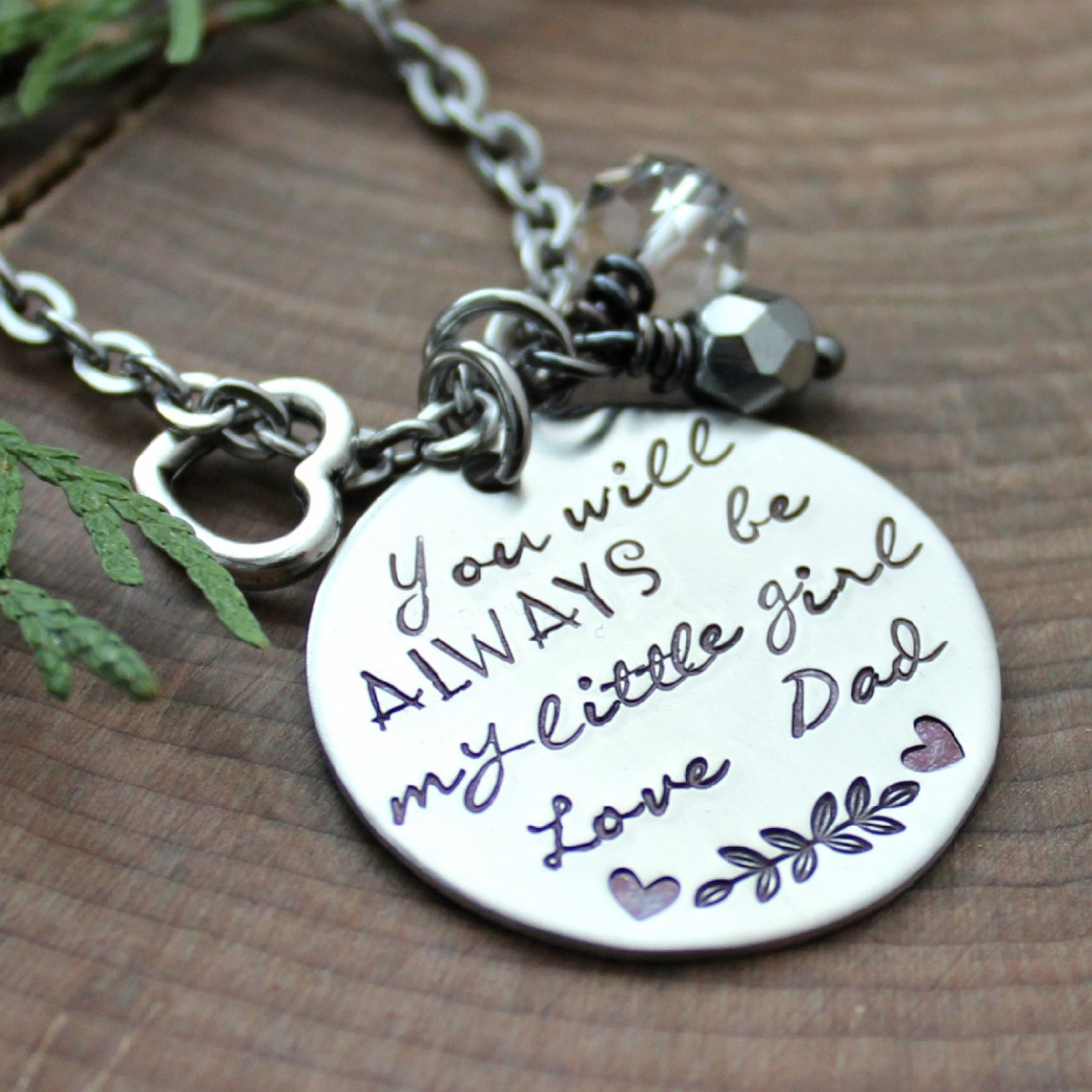 Gift For Daughter Necklace From Dad Or Mom, You'll Always Be My Little Girl  Necklace, Quote Jewelery, Quote Necklace, Gift For Daughter,