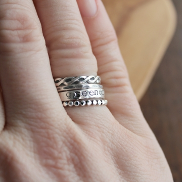 Personalized 4 Ring Designer Infinity Stack, Sterling Silver Custom Message Ring