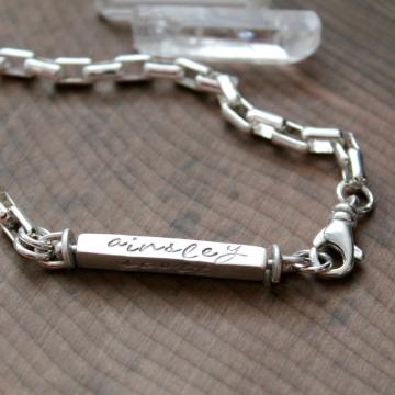 Personalized Family Sterling Silver Swivel Bar Bracelet - Connie Bracelet