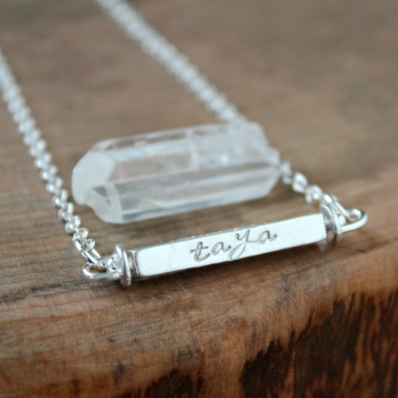 Personalized Solid Silver Swivel Bar Horizontal Necklace - Claire Necklace