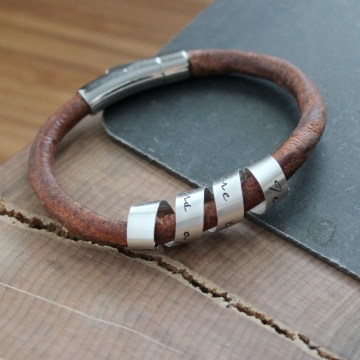 Personalized Unisex Secret Message Cuff Bracelet, Hand Stamped Custom Message Leather and Silver Bracelet