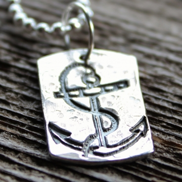 Anchor Precious Silver Unisex Necklace, Recycled Silver Hand Stamped, Worn and Hammered Look - Mens Gift Nautical Necklace