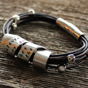 Personalized Silver and Leather Bracelet Hand Stamped With Custom Wide Spinning Message, Unisex Cuff Bracelet