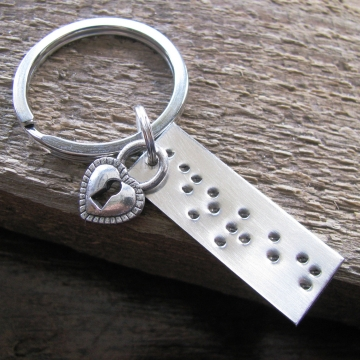 Braille Secret Message Keychain Personalized Gift