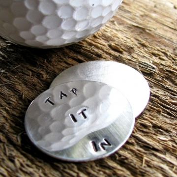 Personalized Silver Golf Ball Marker Set Hand Stamped- Tap It In Or Other Custom Message