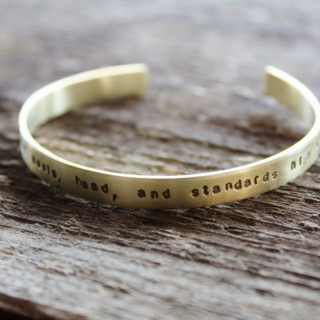 Personalized Brass Skinny Cuff, Hand Stamped Message of Choice, Golden Cuff - Lori Cuff