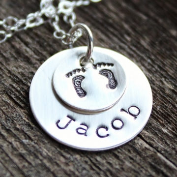 Personalized Mommy Necklace-Babbies Feet, Name Necklace, Hand stamped, Sterling Silver, Name Necklace