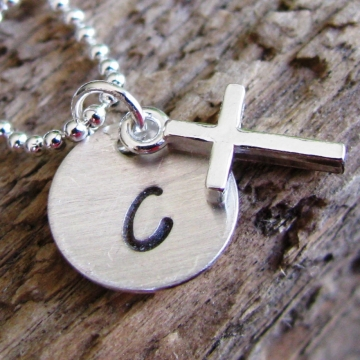 Personalized Initial Necklace- Hand Stamped Silver Cross Necklace- Love and Faith