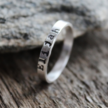 Personalized Smooth Silver Ring, Stacking Ring, Sterling Silver Ring With Children's Names, Hand Stamped