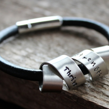 Personalized Secret Message Spinner Bracelet, Leather and Silver Unisex Cuff Bracelet