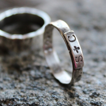 Personalized Couples Initial Ring, Sterling Silver, Hand Stamped, Secret Love Message On The Inside, Roz Ring