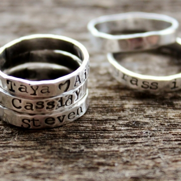 Personalized Sterling Silver Ring Set 3 Stacker Rings Hand Stamped on the Outside or Inside