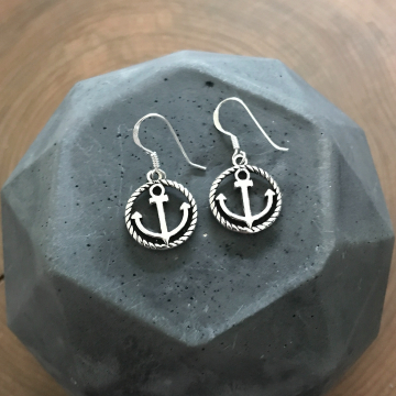 Silver Anchor Earrings, Sterling Silver Dangle Anchor and Rope Nautical Earrings