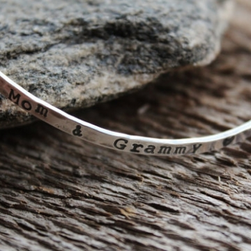 Personalized Sterling Silver Bangle Bracelet Hand Stamped With Phrase or Words of Choice