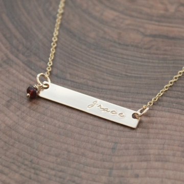 Personalized Gold Bar Necklace With Gemstone, Birthstone - Dee Necklace