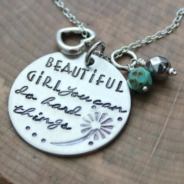 Beautiful Girl Quote Necklace, Inspiration Necklace, Hand Stamped Quote Necklace - You Can Do Hard Things Necklace