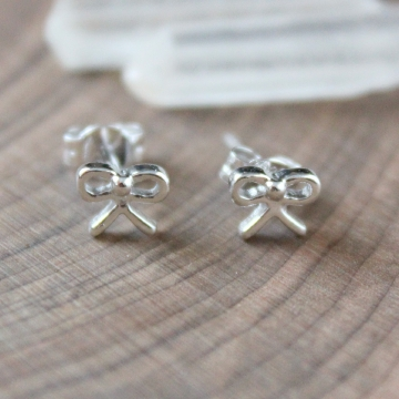 Petite Sterling Silver Bow Stud Earrings, Tiny Bow Post Earrings, Sweet Silver Everyday Bow Earrings