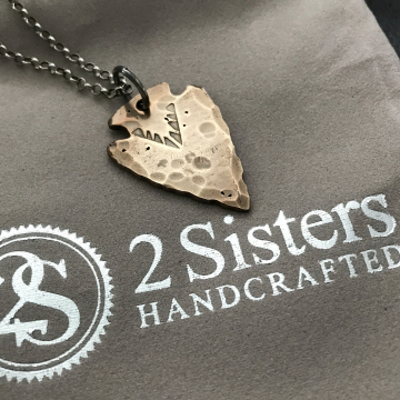 Men's Arrowhead Necklace, Bronze and Sterling Silver Personalized Necklace